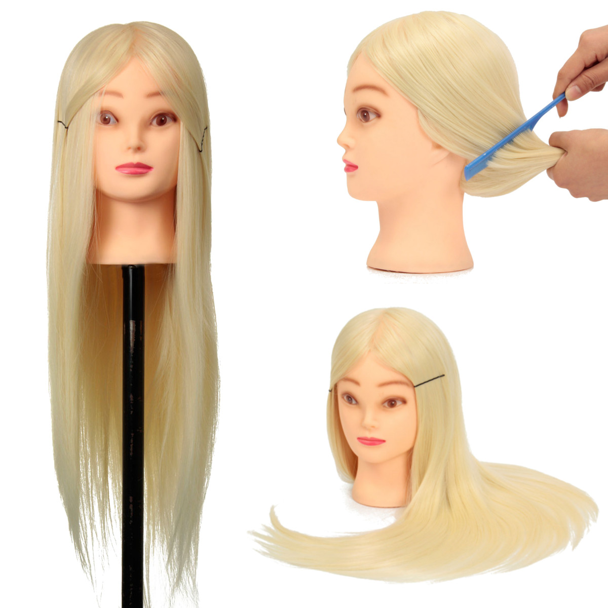 "18"" Salon Hairdressing Head Cosmetology Practice Training Head Mannequin With Hair + Clamp"