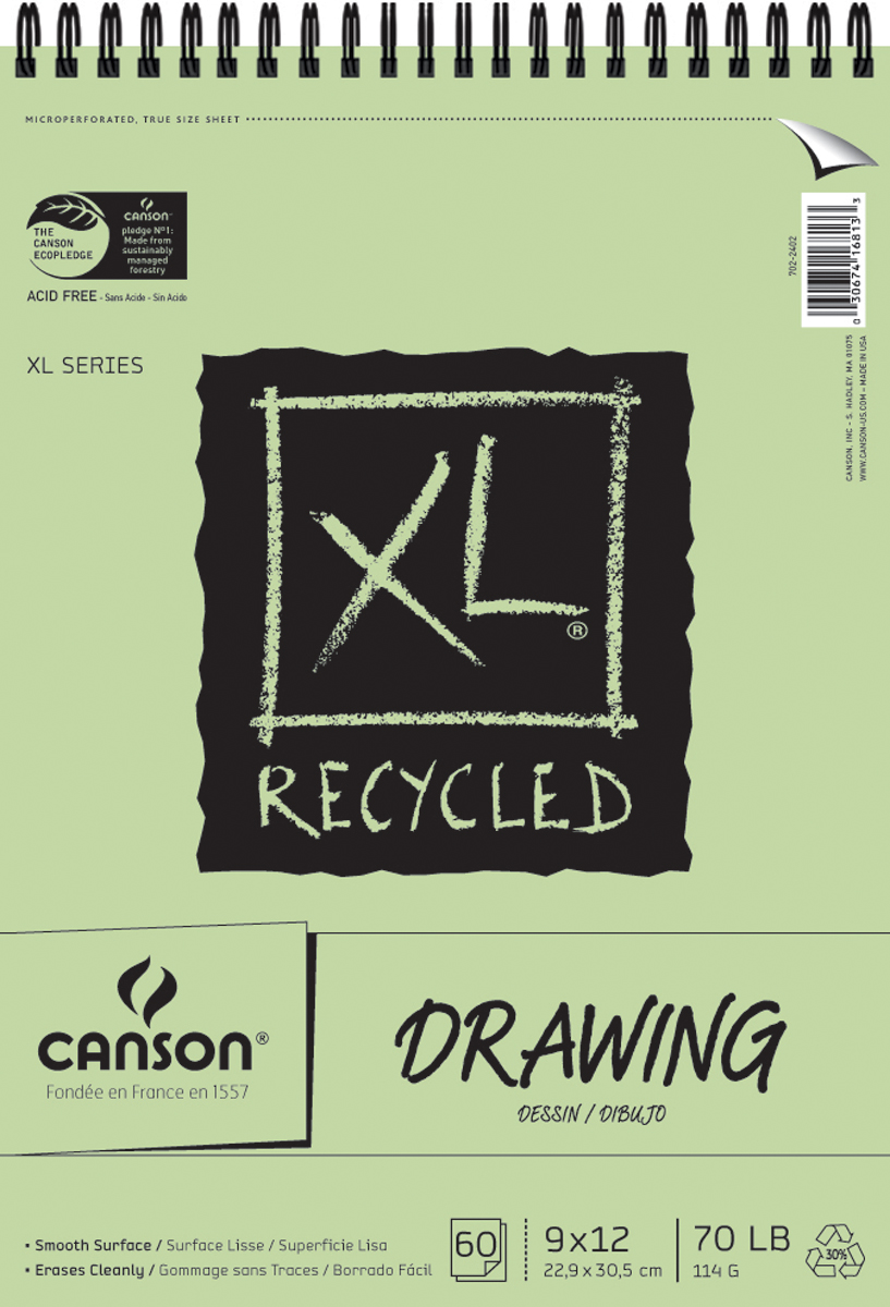 "Canson XL Recycled Spiral Drawing Paper Pad 9""X12""-60 Sheets"