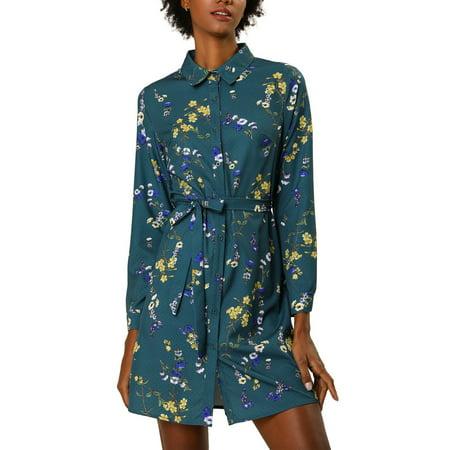 Allegra K Junior's Button Down Belted Polka Dots Floral Shirt Dress