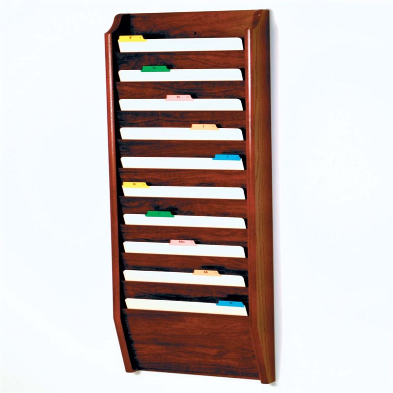 Scranton & Co 10 Pocket Legal Size Wall File Holder in Mahogany