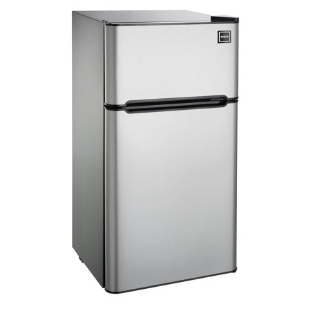 RCA 4.5 Cu Ft Two Door Mini Fridge with Freezer RFR459 Stainless