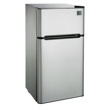 RCA 4.5 Cu Ft Two Door Mini Fridge with Freezer RFR459 Stainless Steel