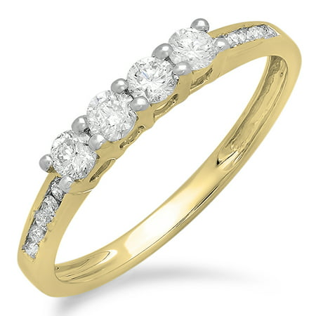 0.50 Carat (ctw) 14K Gold Round Diamond Ladies Bridal Anniversary Wedding Band Stackable Ring 1/2 CT 14k Leverback Ring
