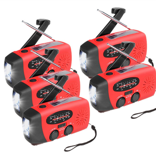 5PACK Hand Crank Emergency Radio, Portable Dynamo Solar Radio , AM FM WB Weather Radio LED Flashlight Smart Phone Charger Power Bank by OCDAY