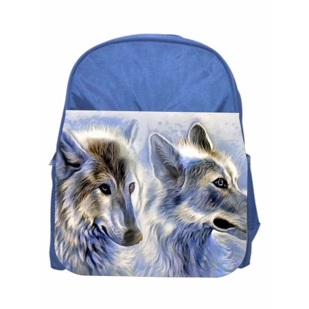 Wolves Blue Girls / Boys Preschool Toddler Backpack & Lunch Box Set (Boys Backpack And Lunchbox)