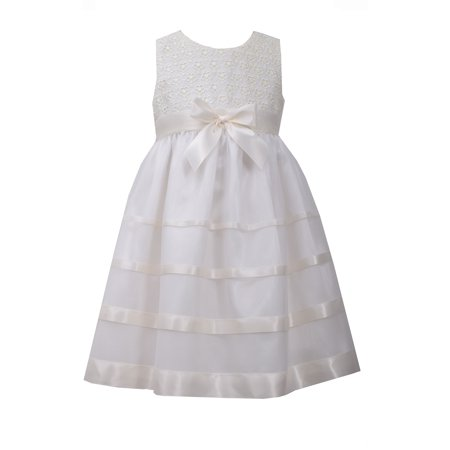 Bonnie Jean Little Girls Ivory Lace Ribbon Dress - Bonnie Jean Ivory Dress