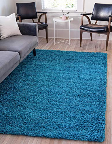 Unique Loom Solo Solid Shag Collection Modern Plush Green Area Rug 2 8 X 5 0 Home Kitchen Area Rugs