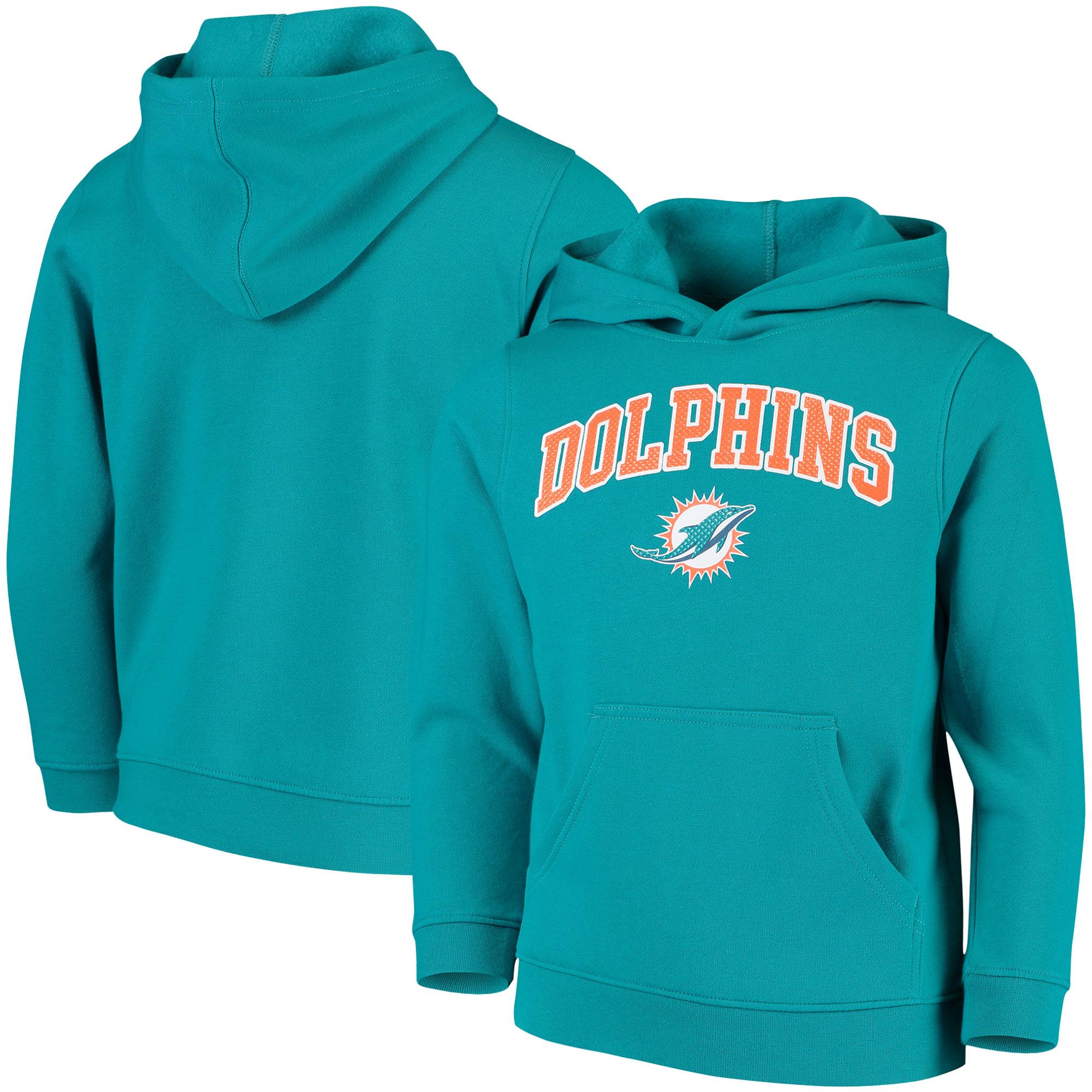 Youth Aqua Miami Dolphins Clear Gel Fleece Hoodie