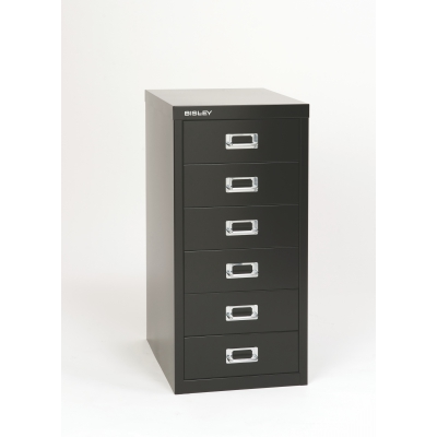 Bisley 6-Drawer Steel Multidrawer Storage Cabinet, Black BDSMD6BK by Bindertek