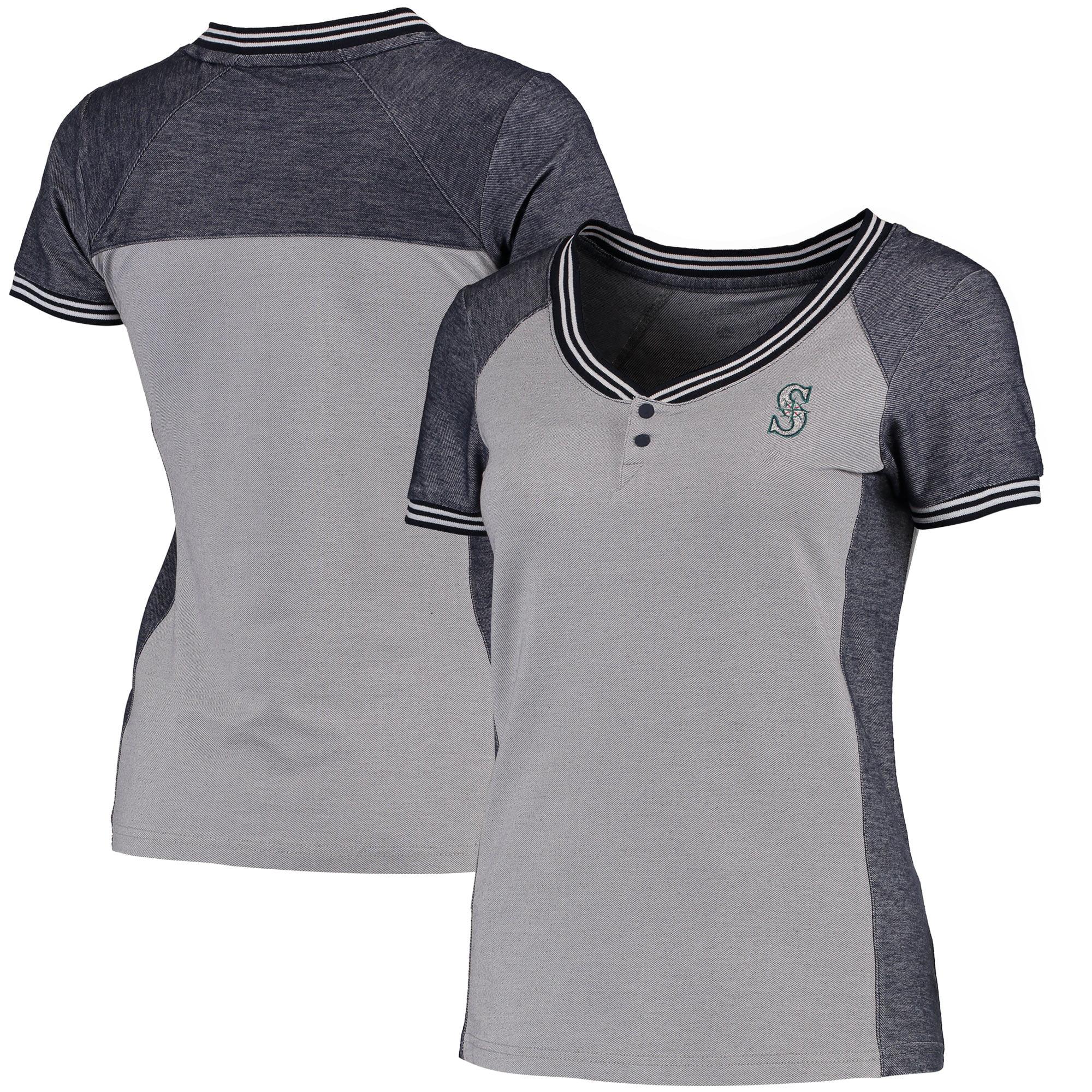 Seattle Mariners Antigua Women's Quick Henley T-Shirt - Gray/Navy
