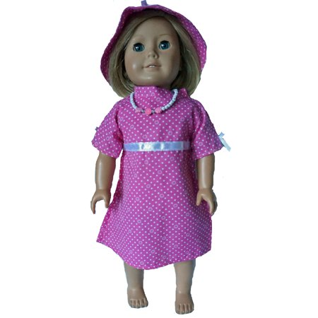 18 Inch Dolls Dress With Hat and Necklace (Necklace Dress)