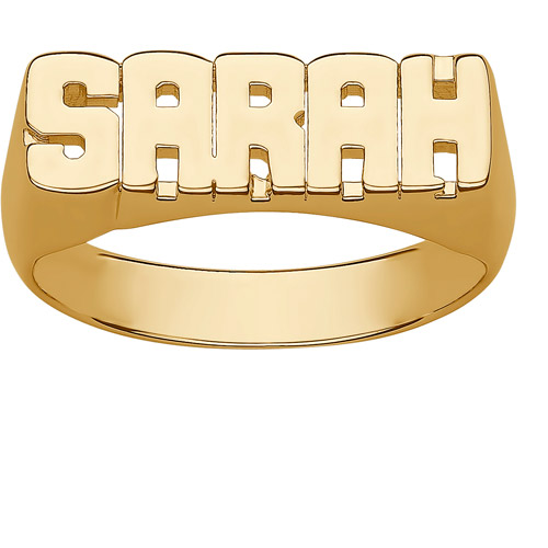 Personalized Women's Gold over Sterling Silver Block Name Ring