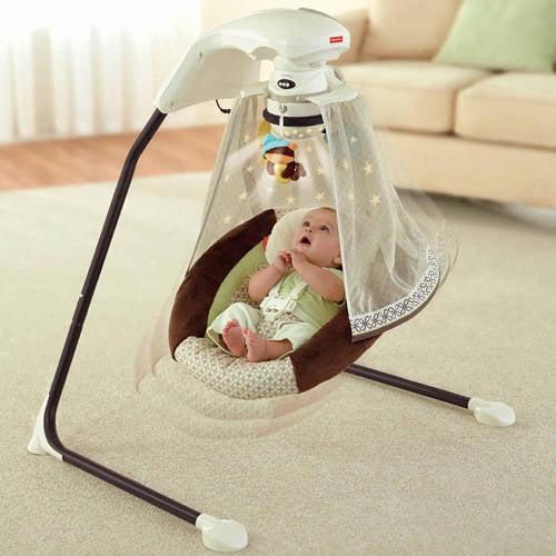 Fisher-Price - Starlight Papasan Cradle Swing, Nite Nite Monkey