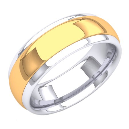 - 18K White & Yellow Gold Two Tone Men's 8 MM Flat Shiny Polished Comfort Fit Low Dome Wedding Band