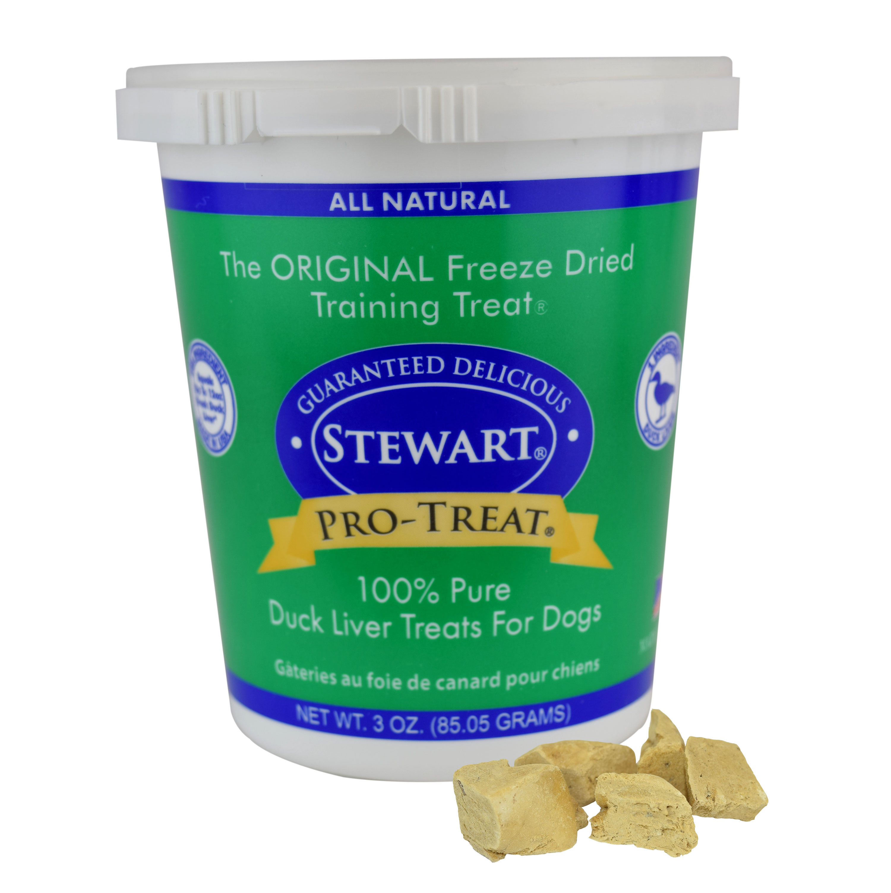 Stewart Freeze Dried Duck Liver Dog Treats by Pro-Treat, 3 oz. Tub