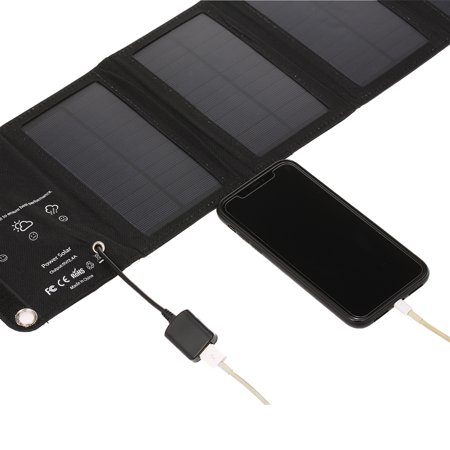 10W/5V Portable Solar Charger With USB Port Foldable 5 Solar Panel Camping Hiking Travel Compact Solar Power Phone Charger For Tablet Laptop Cellphones Black - image 2 of 7