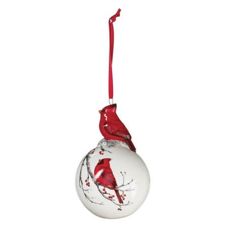 WINTER CARDINAL Porcelain Ball Christmas Ornament, 4.75
