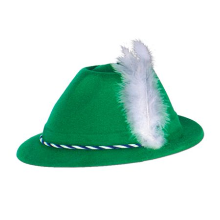 6-Pack Green Velour Tyrolean Hats Adult Halloween Accessory - Velour Hat