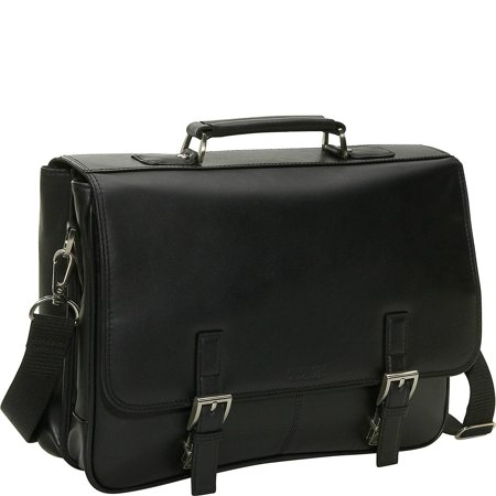 524975 Leather A Brief History Double Gusseted Flapover Portfolio - Black Double Gusset Zip Top Portfolio