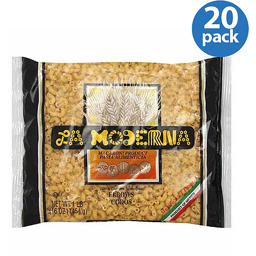 La Moderna Elbows Pasta Macaroni Product, 16 oz, (Pack of 20)