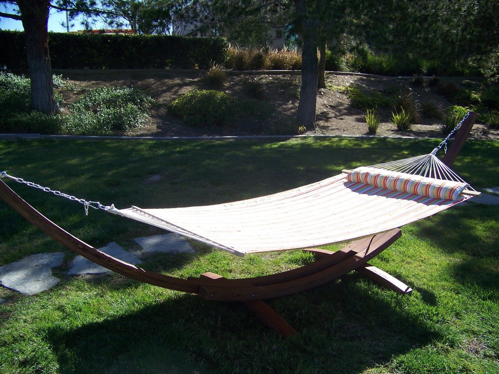 14 Ft. Brown Stain Wooden Arc Hammock Stand + Quilted, Double Padded Hammock Bed w Pillow. by Petra Sports & Leisure