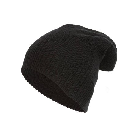 Rib Knit Slouch Beanie, Black
