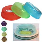 "2 Microwave Plate Cover Lid 10"" Plastic Safe Dish Splatter Topper Vent Holes New"