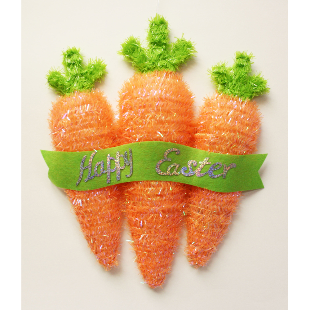Easter Tinsel Carrot Hang Decoration
