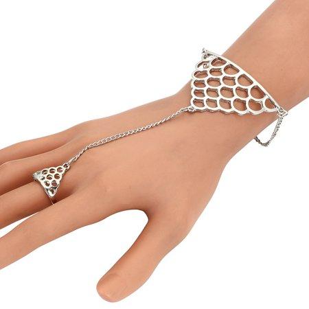 Mosunx Womens Squamous Fish Scale Finger Ring Link Chain Bracelet Bangle Fashion Punk - Fish Flingers