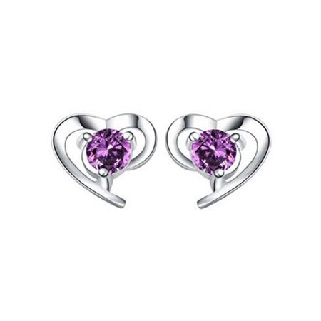 Novadab Charm Heart embeded Purple Rhinestone Ear - Purple Heart Charm
