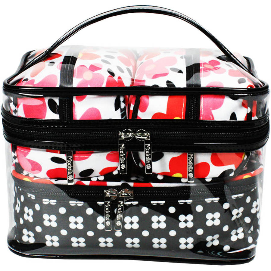 Modella Retro Bloom Train Case Travel Set, 4 pc
