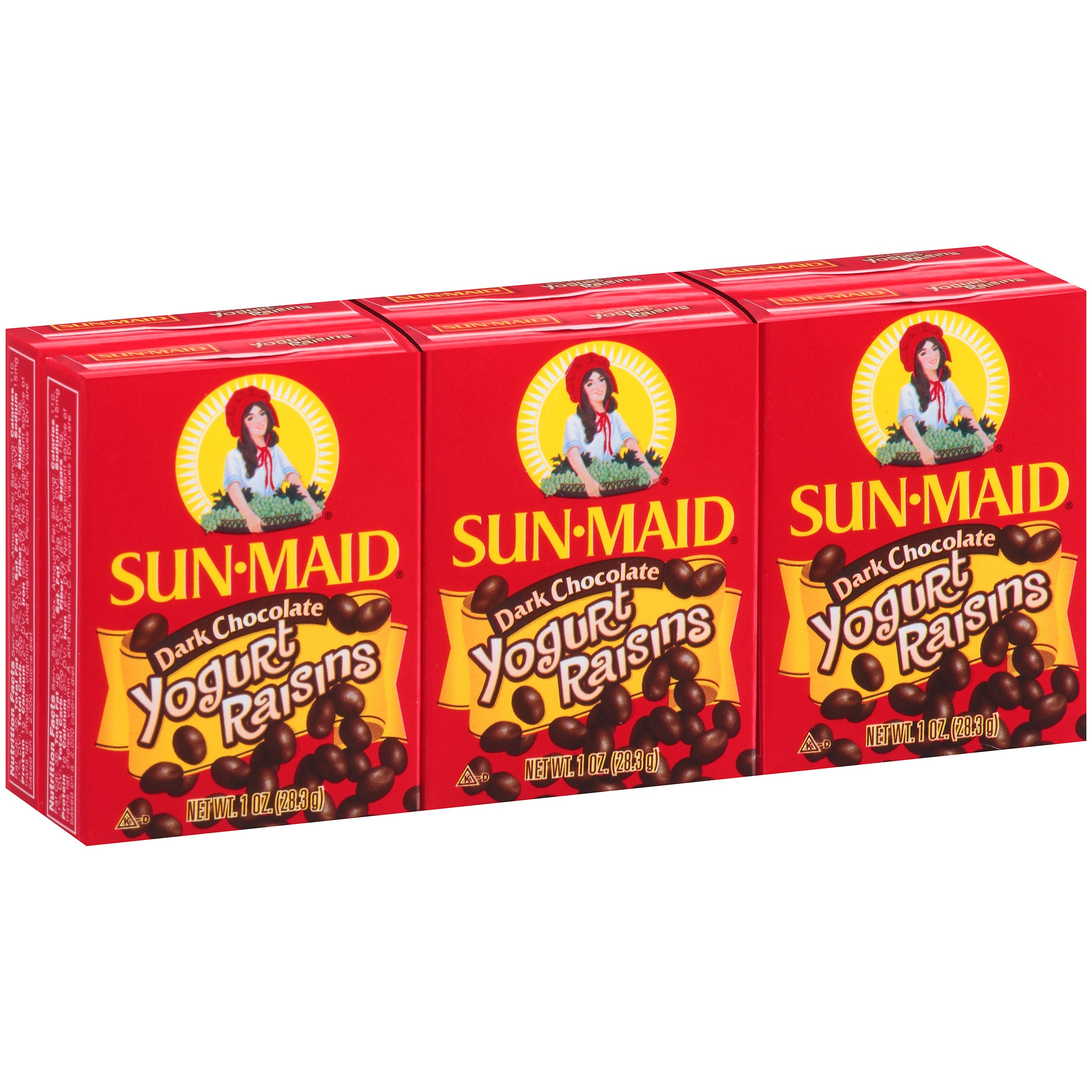 Sun-Maid Dark Chocolate Yogurt Raisins, 1 Oz, 6 ct