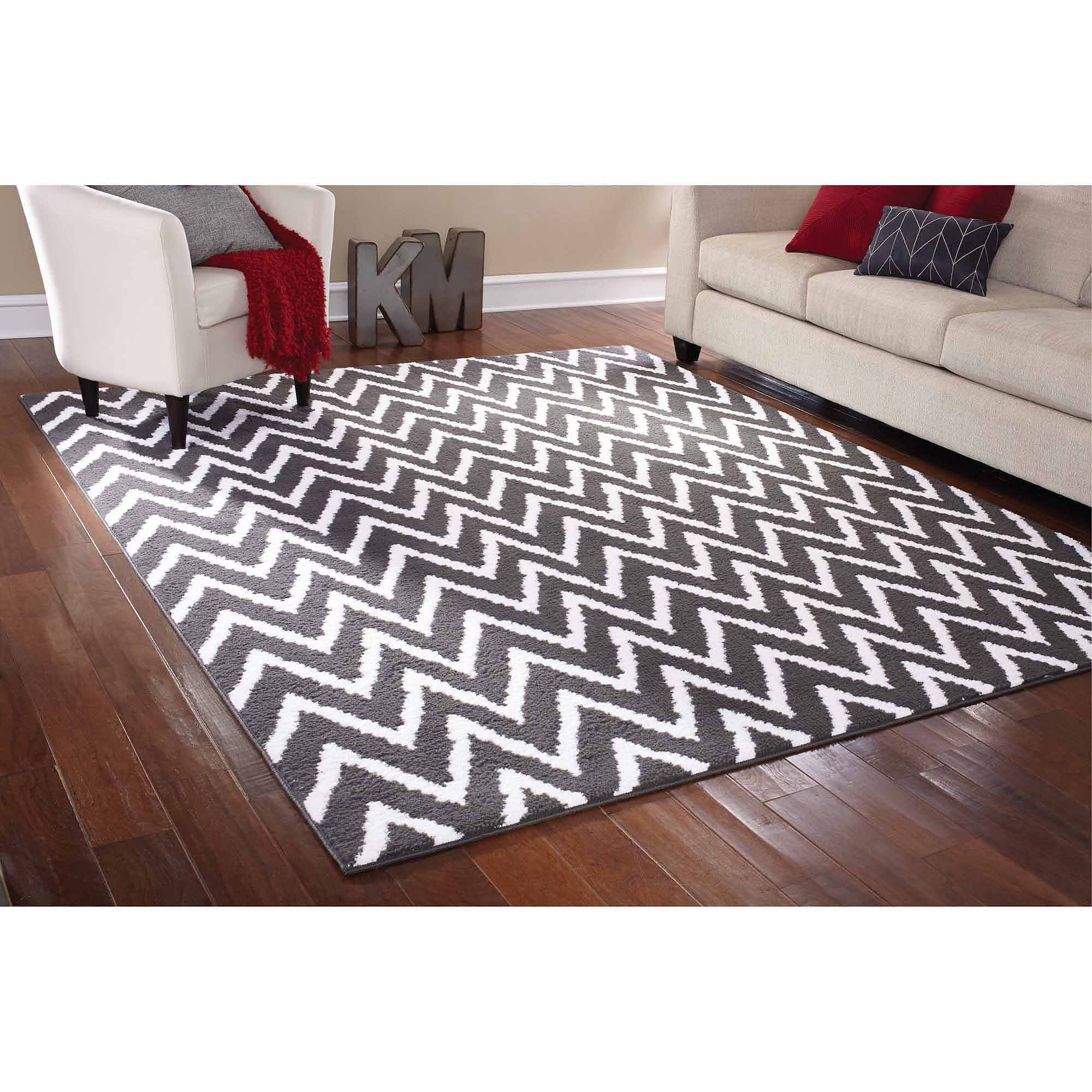 Mainstays Rug In A Bag Distressed Zig Zag Cinder Area Rug, Gray/White    Walmart.com
