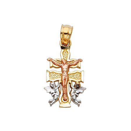 14k Tri Tone Solid Italian Gold Caravaca Crucifix Cross with Angels Charm Religious Pendant 18mm x (14k Gold Crucifix Charm)