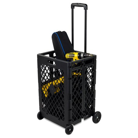 Mount-It! Folding Utility Cart with 4 Wheels, 55 LBS -