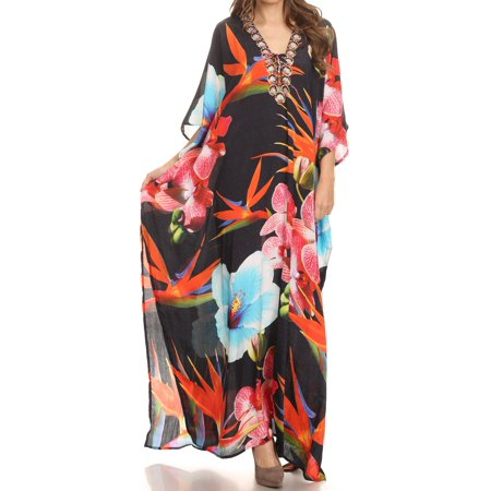 Sakkas Georgettina Flowy Rhinestone V Neck Long Caftan Dress / Cover Up - Black / Multi -OS