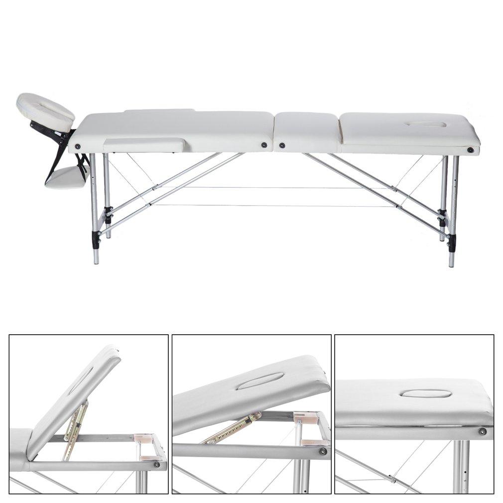 Master Massage Bed Facial SPA Bed Adjustable SPA Therapy Beauty Salon Massage Table Bed, White