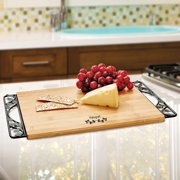 Pfaltzgraff Rustic Leaf Bamboo Cutting Board with Metal Handles