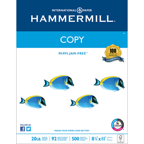Hammermill Copy Paper Poly Wrap,  20lb, 8.5 x 11 Inches, 92 Bright, 500 Sheets/ 1 Ream (150010)