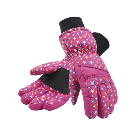 - Kids Girls Thinsulate Lined and Waterproof Ski Glove, Pink with Stars, S