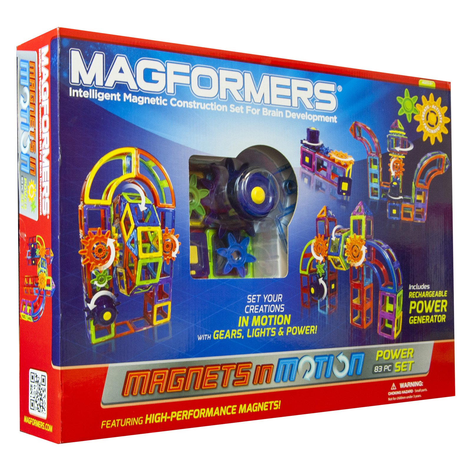 Magformers Magnets in Motion Power 83-Piece Magnetic Construction Set