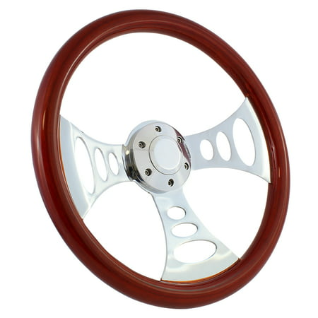 "70-75 Chevy/gmc Van 15"" Wood Billet PolishedSteering Wheel SetAdapter & Horn"