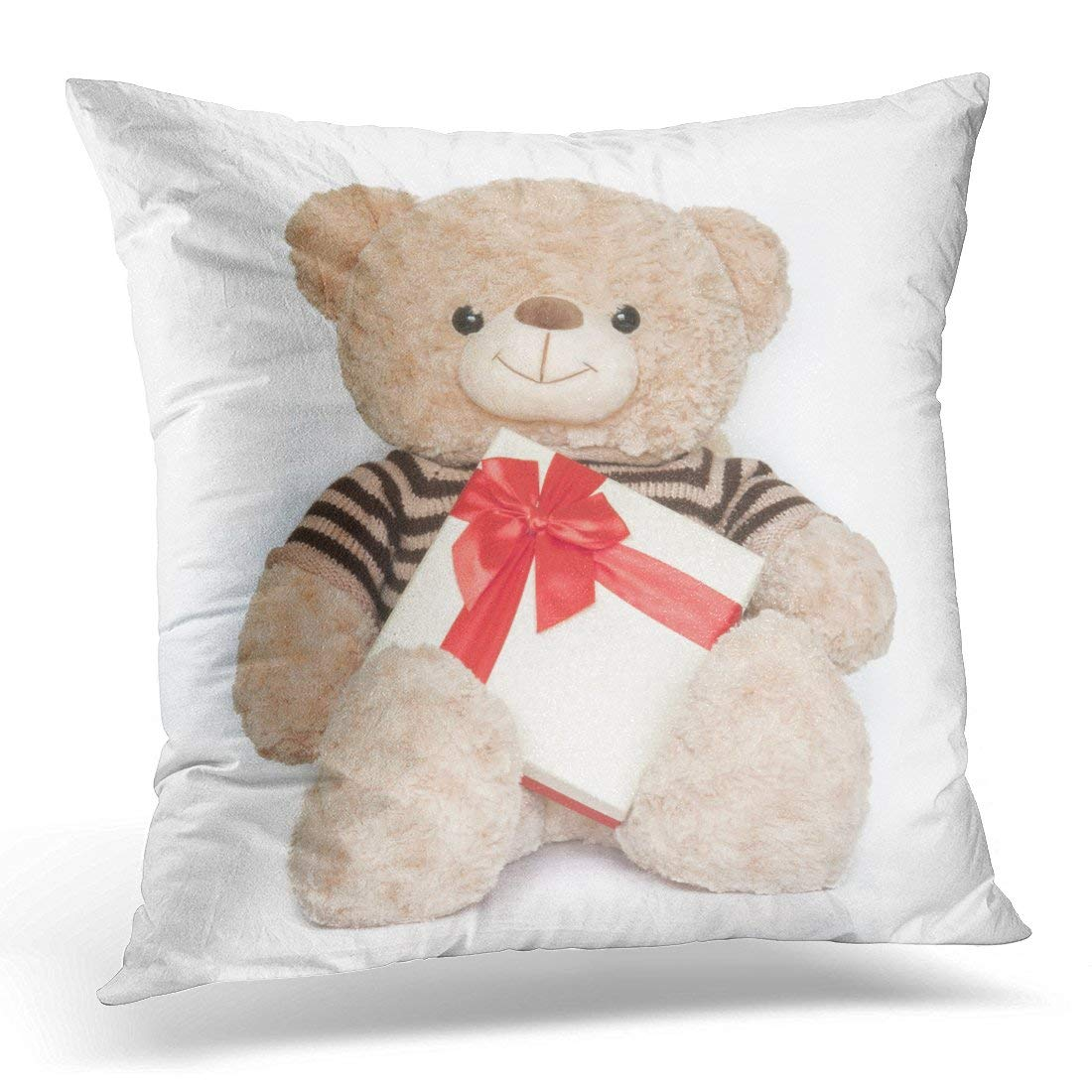 CMFUN Red Bouquet Bear Doll and Box on White Celebration Pillow Case Pillow Cover 20x20 inch