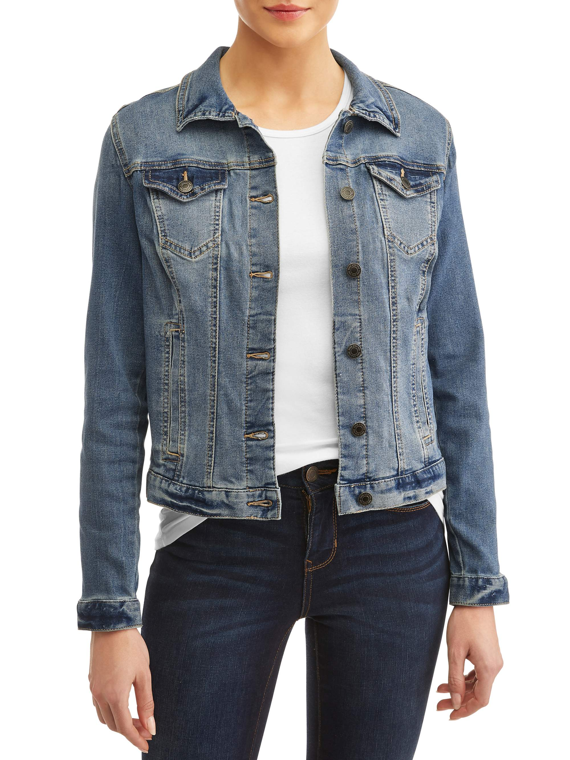 Design by Olivia Womens Classic Casual Vintage Blue Stone Washed Denim Jean Jacket Dark Denim M