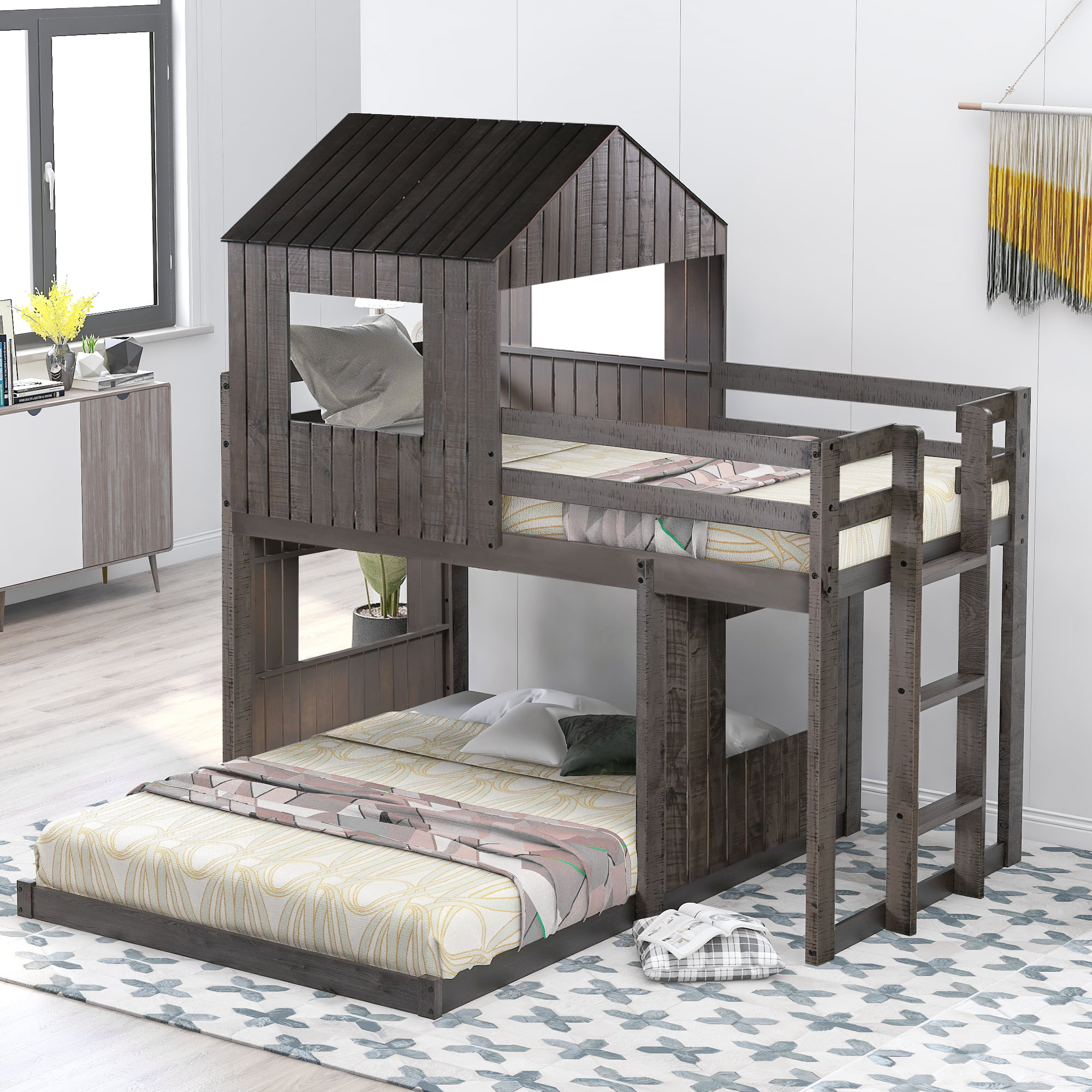 Picture of: Twin Over Full Bunk Beds Wood Twin Over Full Loft Bed Twin Over Full Bunk Bed For Kid Toddlers Girls Boys Bunk Bed Frame With Ladder Safety Rail And Roof No Box