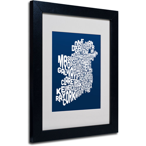 "Trademark Fine Art ""NAVY-Ireland Text Map"" Matted Framed Art by Michael Tompsett"