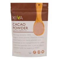 Kiva Raw Organic Cacao Powder (Unsweetened Cocoa - Dark Chocolate Powder) -  Large 1 LB. Bag