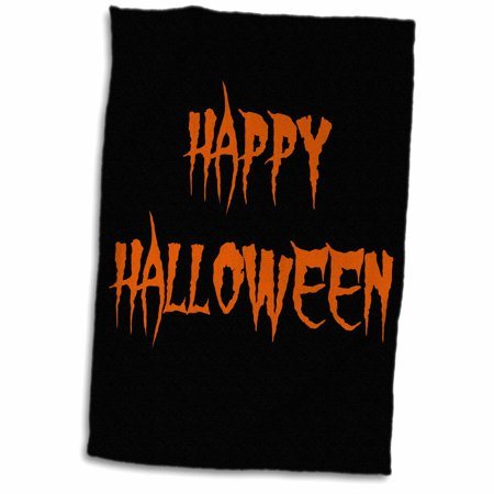 3dRose happy halloween orange spooky letters on black background - Towel, 15 by 22-inch - Happy Halloween Letter Printables