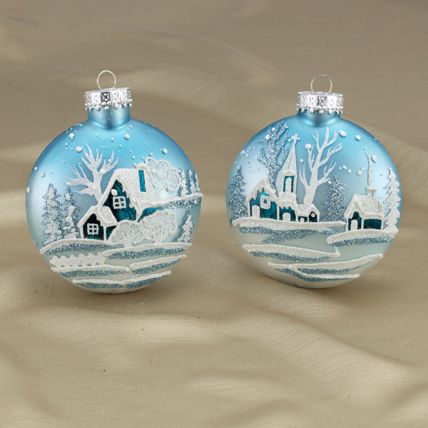 Set of 2 Winter Frost Glittered Snowy Scene Christmas Disk Ornaments 4""