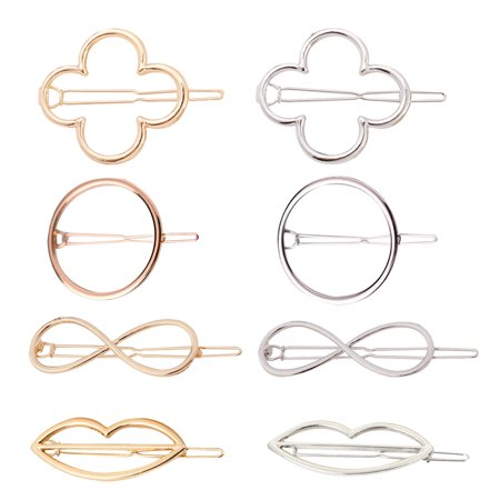 Fascigirl 8Pcs Hair Clip Set Fashionable Geometric Shape Alloy Hollow  Hairpin Metal Hairpin Barrette Pin Hair Accessories Gift for Women Girls
